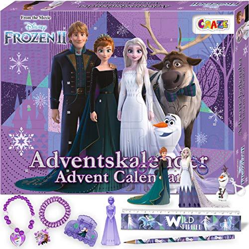 CRAZE Premium Advent Calendar 24652 adviento Navidad 2020 Frozen II Reina de Las Nieves para niñas Calendario de Juguetes con Contenido Creativo y Grandes sorpresas, Color Play Set