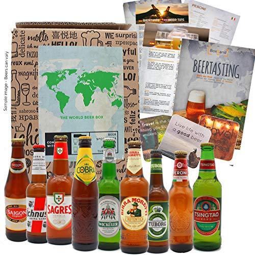 Regalo de cerveza como regalo de cumpleaños para hombres, idea de regalo inusual Cerveza gira mundial con 9 x 0.33l cervezas extraordinarias de todo el mundo