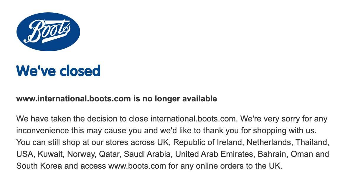 Boots sin envíos internacionales